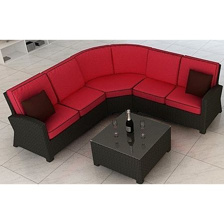 Cabo Wicker Sectional Sofa 4 Piece Set- Flagship Ruby