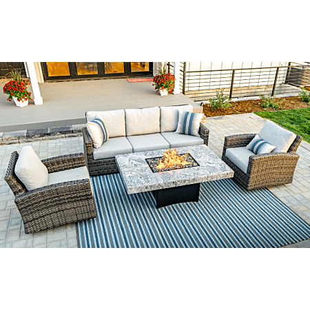 Ratana Portofino 3pc Outdoor Set with optional Oriflamme Med fire pit table