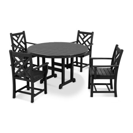 POLYWOOD Chippendale 5-Piece Round Arm Chair Dining Set