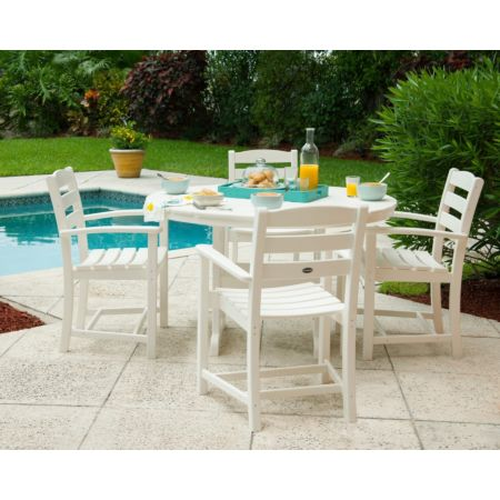 Polywood La Casa Cafe 5-Piece Dining Set, Table & 4 Arm Chairs