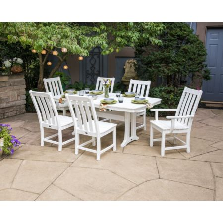 POLYWOOD Vineyard 7-Piece Nautical Trestle Dining Set