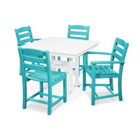 Polywood La Casa Cafe 5-Piece Farmhouse Trestle Dining Set
