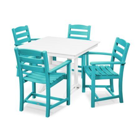 POLYWOOD La Casa Cafe 5-Piece Farmhouse Trestle Arm Chair Dining Set