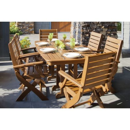 Polywood Signature Folding Chairs with Nautical Dining Table Set