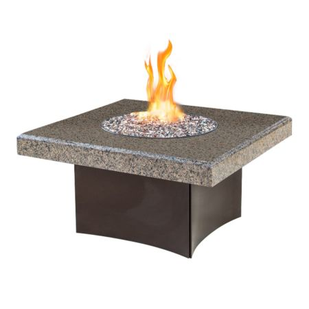 Square Fire table with Granite Beveled Edge Drop