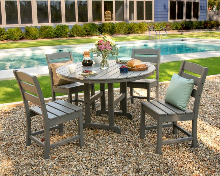 POLYWOOD Lakeside 5-Piece Round Side Chair Dining Set