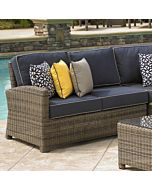 Bainbridge Wicker Left Arm Sectional End Loveseat- Spectrum Indigo w/ Sand Welt Fabric