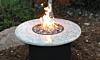 Giallo Santo table top with black powder coat (Giallo Santo Granite)