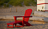 POLYWOOD® Palm Coast Ultimate Adirondack with Hideaway Ottoman in Sunset Red
