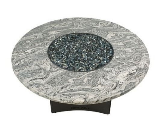 Oriflamme Gas Fire Pit Table Silver Tiger Granite