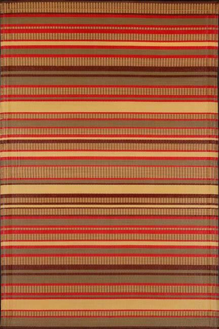 Warm Brown Stripes Outdoor Rug