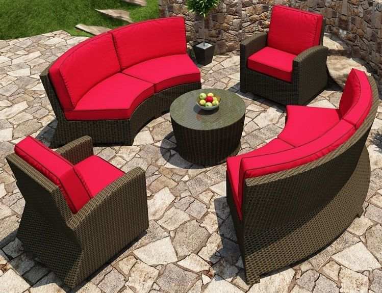 Cabo Wicker Curved Sectional Sofa Set- 5 piece- Flagship Ruby w/ Cocoa Welt