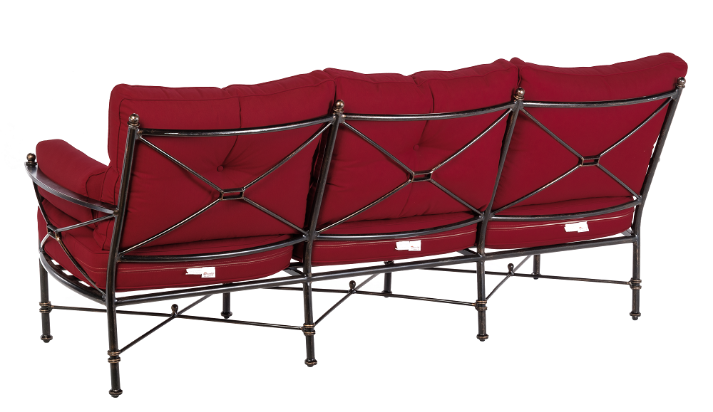 Back of 3 Seater Sofa in Crimson Red