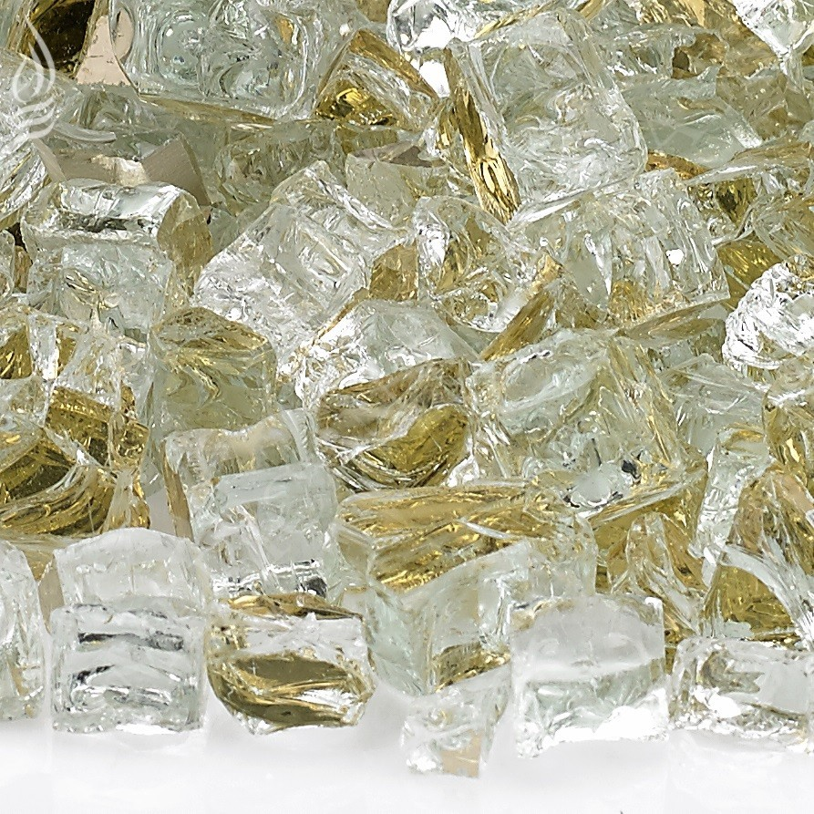 Fire Pit Fireplace Glass - Half Inch Gold Reflective