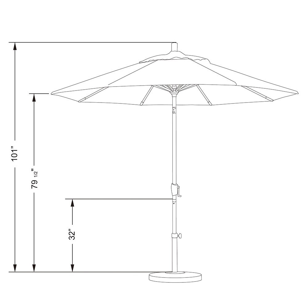 9' Market Style Outdoor Umbrella with Wind Vent Canvas Henna