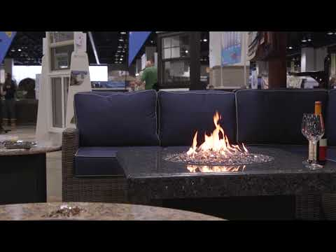 Blue Pearl Square Oriflamme Gas Fire Table