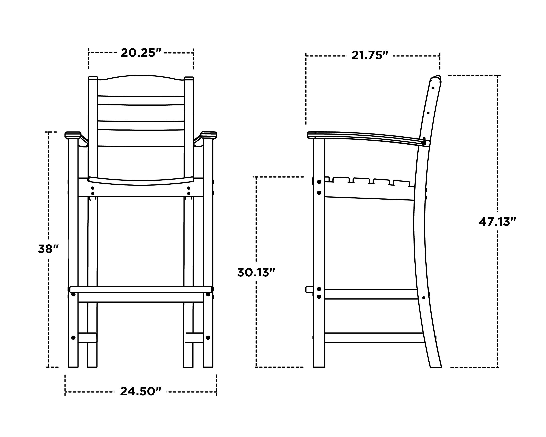 La Casa Café Bar Arm Chair - Dimensions