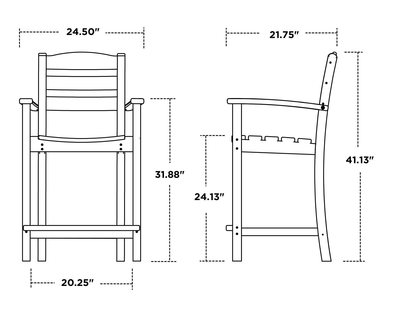 La Casa Café Counter Arm Chair - Dimensions