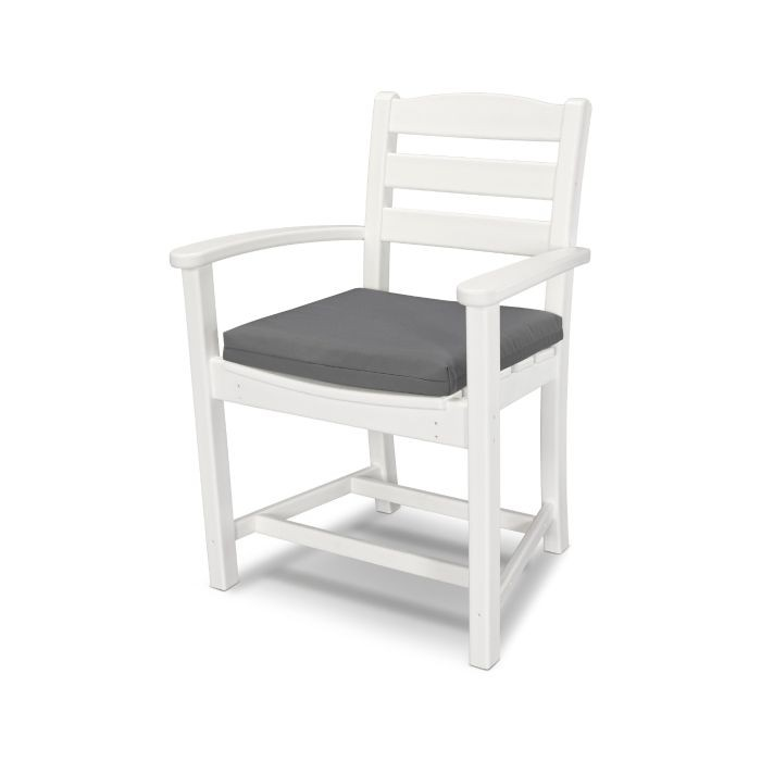 La Casa Cafe Dining Arm Chair White with Seat Cushion
