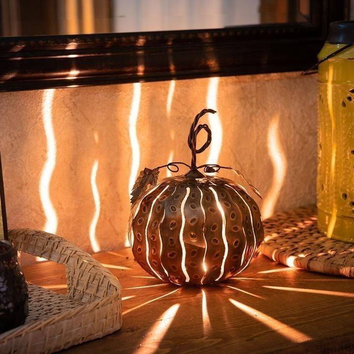 Indoor/Outdoor Copper Mini Pumpkin Luminary