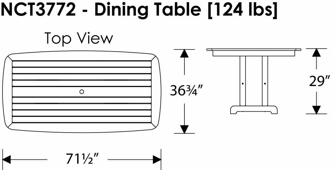 "Polywood Nautical Collection 37x72"" Dining Table Information"