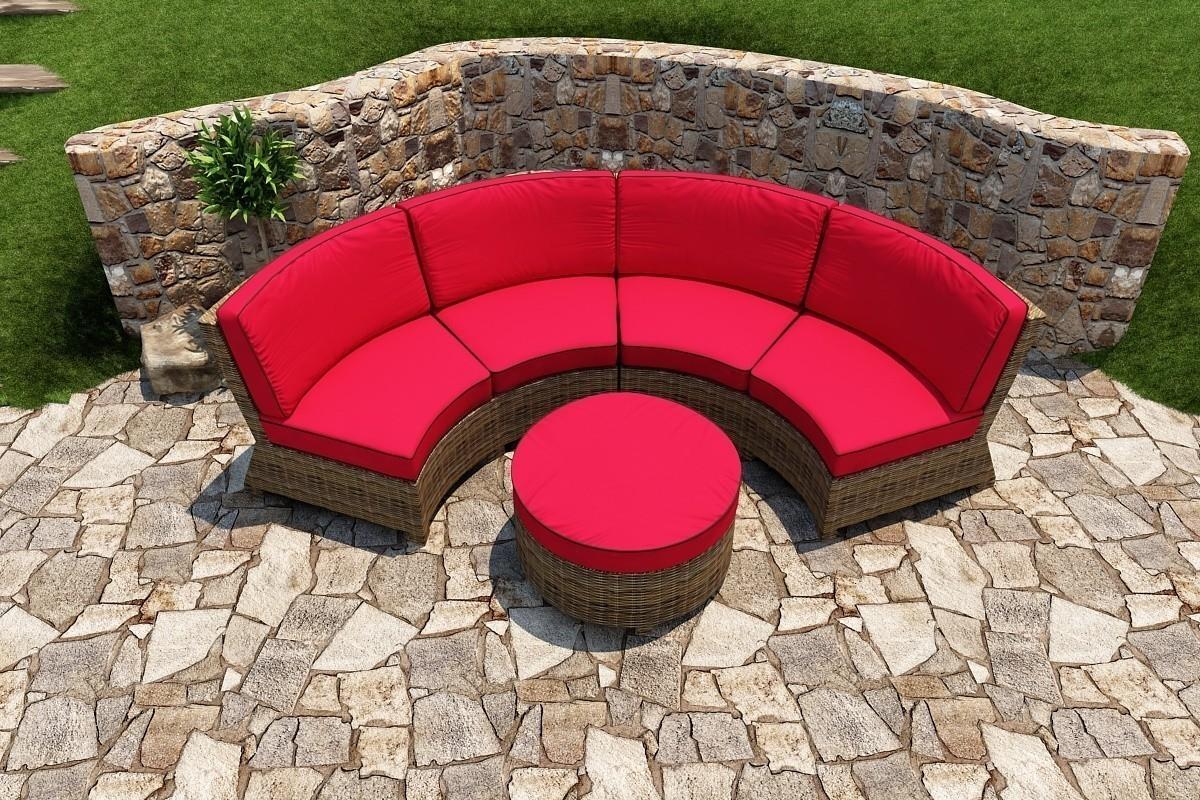 Bainbridge Round Ottoman Lifestyle (Flagship Ruby w/ Canvas Bay Brown Welt)