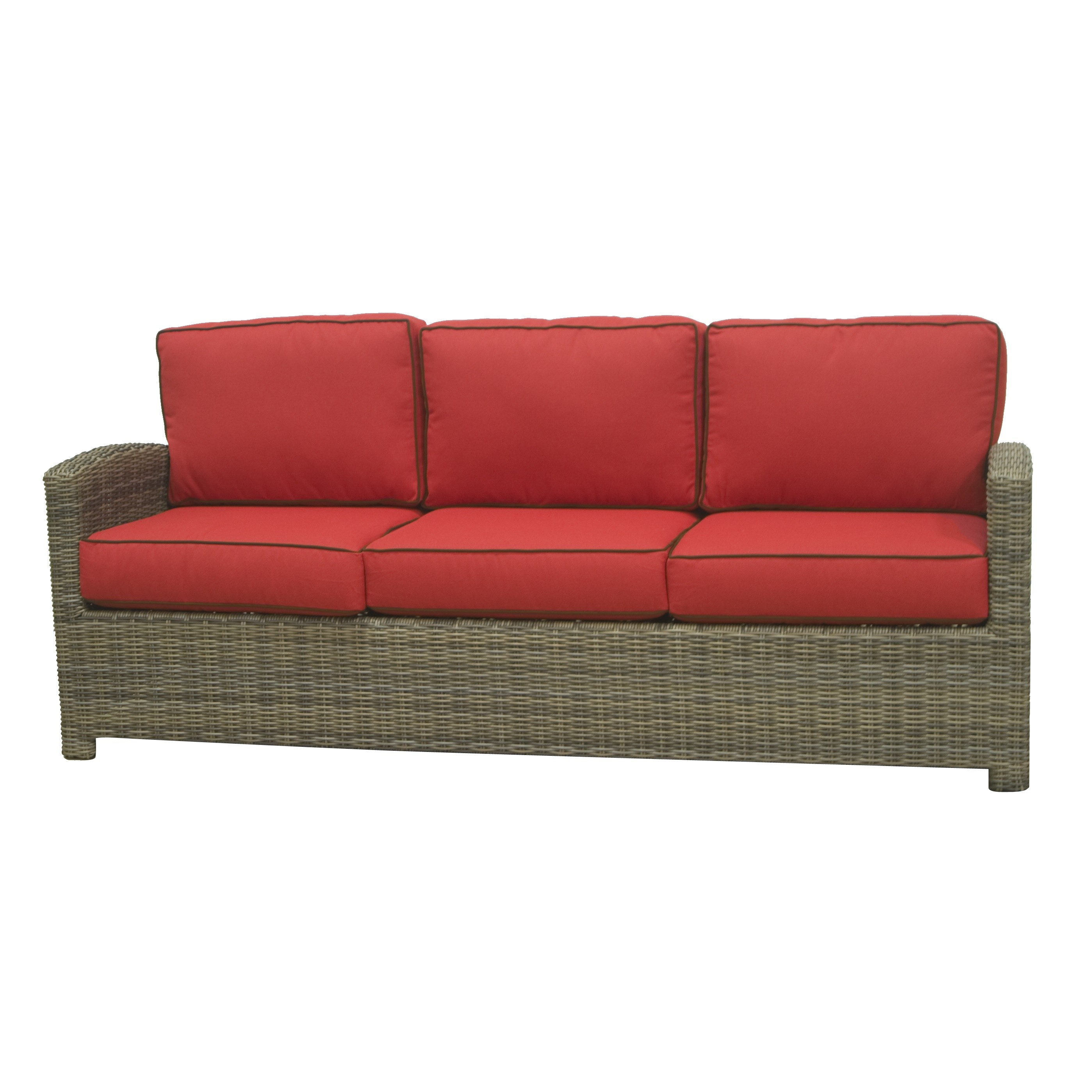Bainbridge 3 Seater Sofa (Flagship Ruby w/ Canvas Bay Brown Welt)