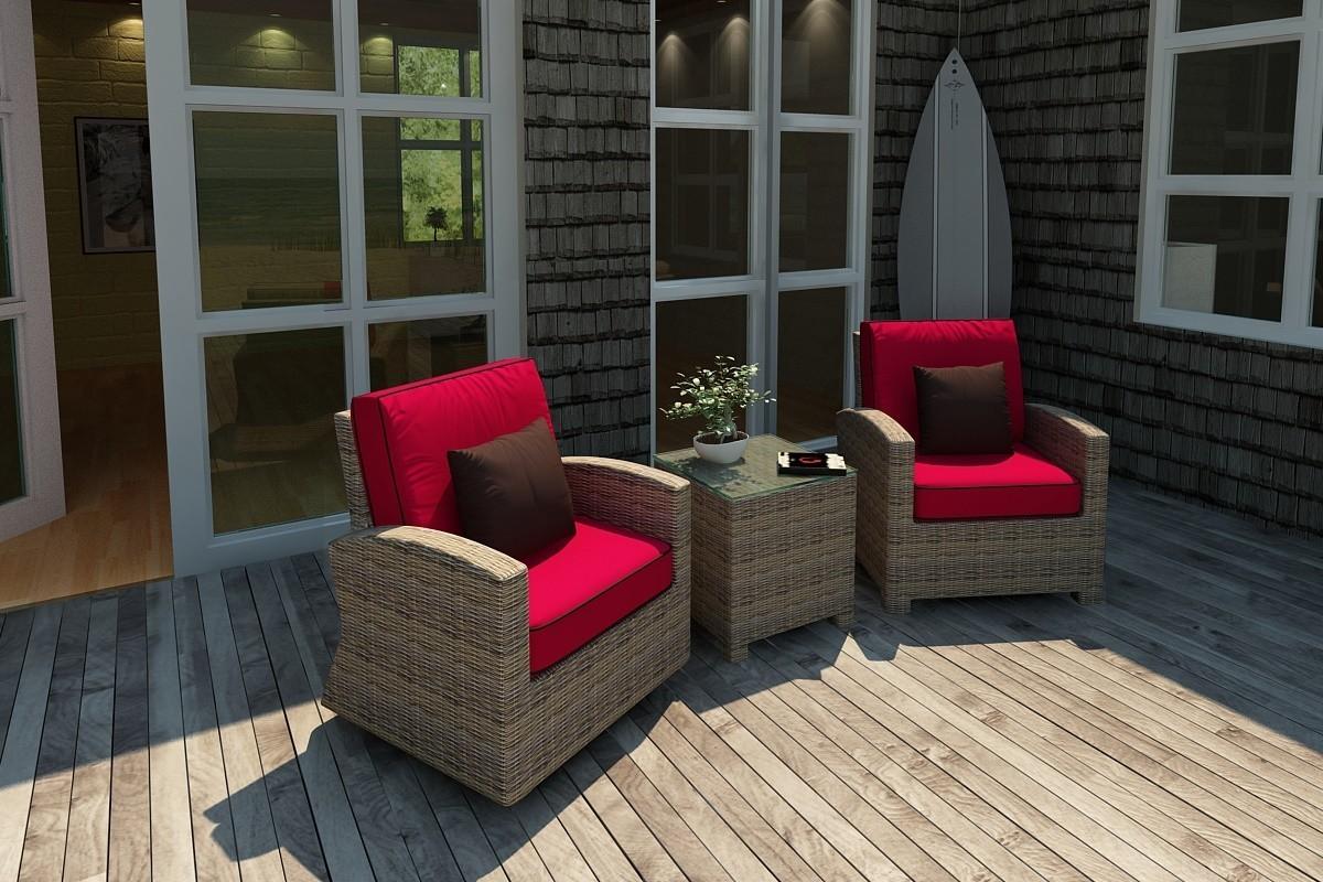 Bainbridge Wicker Club Chairs with Flagship Ruby w/ Canvas Bay Brown Welt