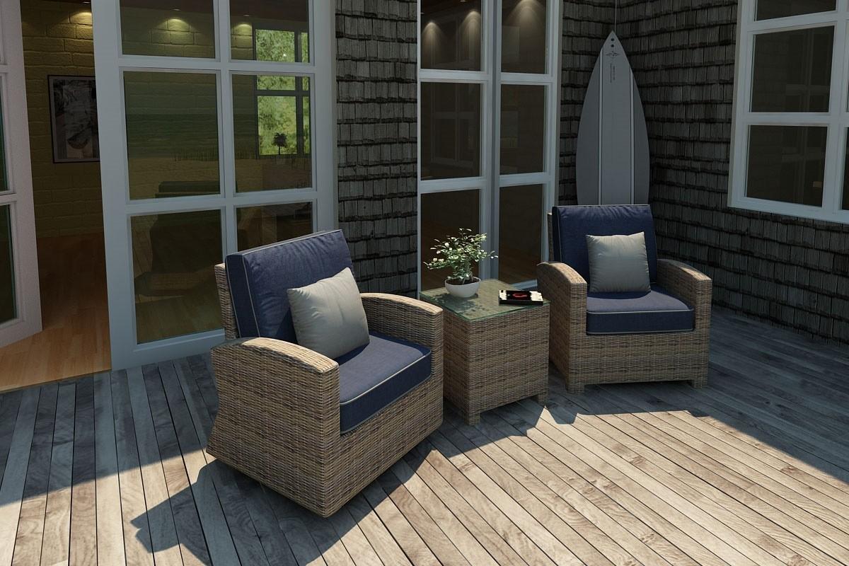 Bainbridge Swivel Glider Club Chair - on left  (Spectrum Indigo w/ Spectrum Dove Welt)