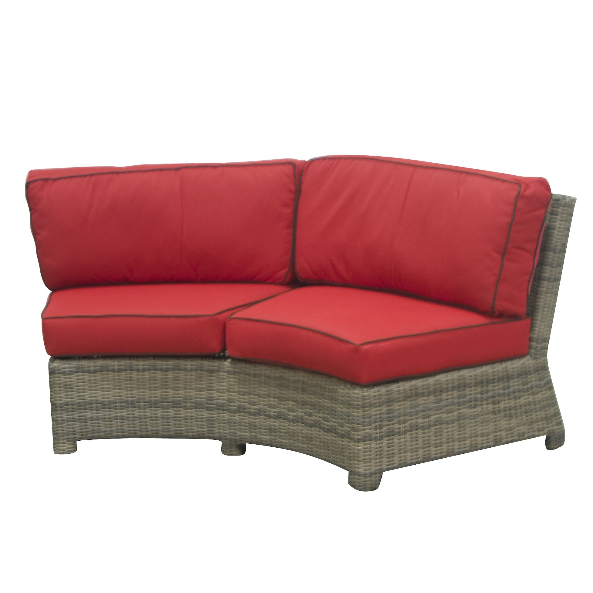 Northcape Bainbridge Curved Sectional (Flagship Ruby w/ Canvas Bay Brown Welt)