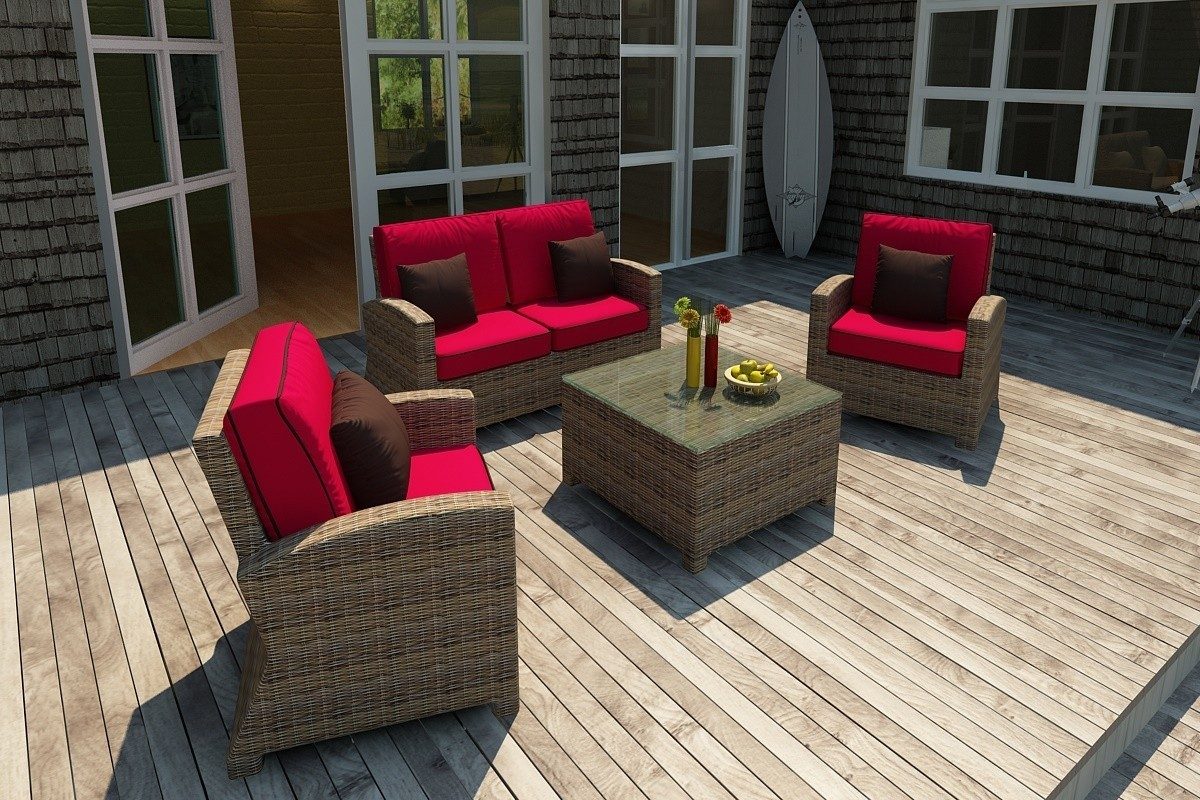 Bainbridge Loveseat Sofa (Flagship Ruby w/ Canvas Bay Brown Welt)