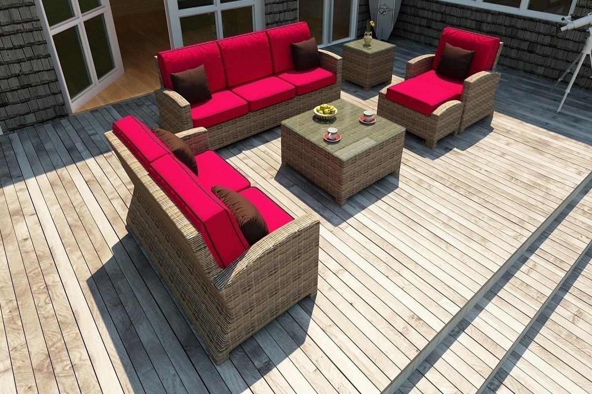 Bainbridge 3 Seater Sofa Lifestyle (Flagship Ruby w/ Canvas Bay Brown Welt)