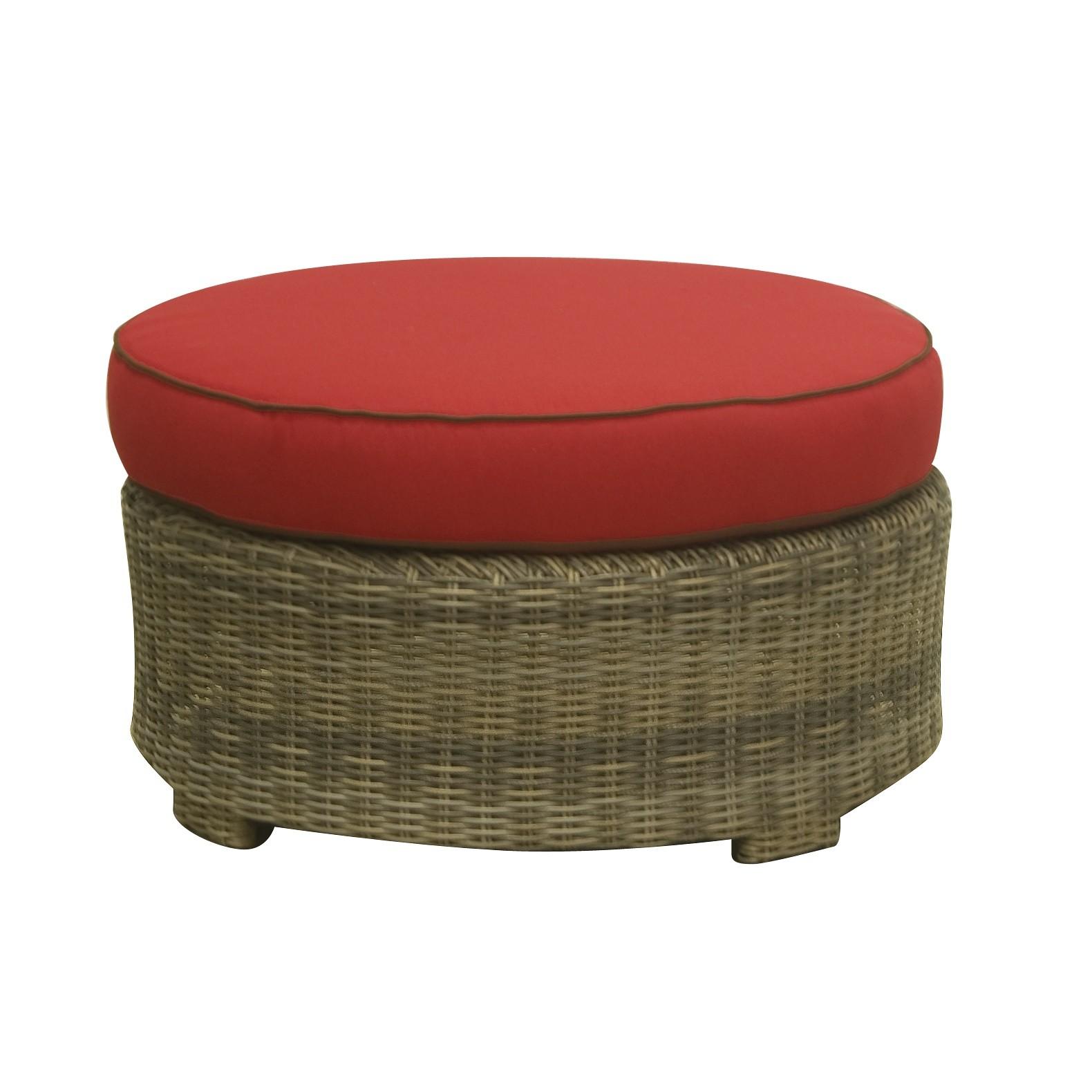 Bainbridge Round Ottoman (Flagship Ruby w/ Canvas Bay Brown Welt)