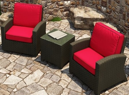 Cabo Wicker Swivel Glider Chat Set- 3 Piece- Flagship Ruby w/ Bay Brown Welt