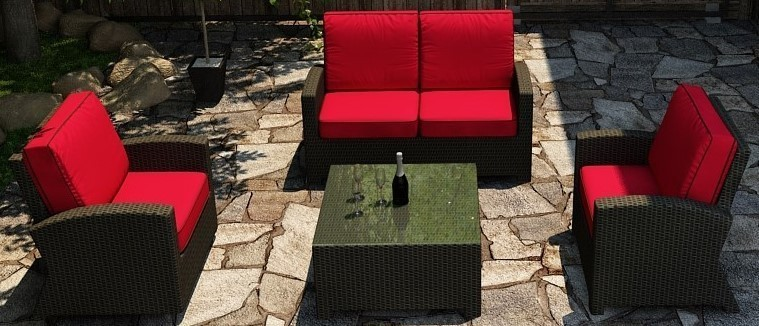 Cabo Wicker Loveseat Sofa Set- 4 Piece- Flagship Ruby w/ Bay Brown welt