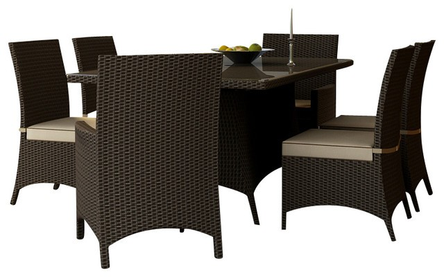 Malibu Wicker 72 Dining Set 7 Piece
