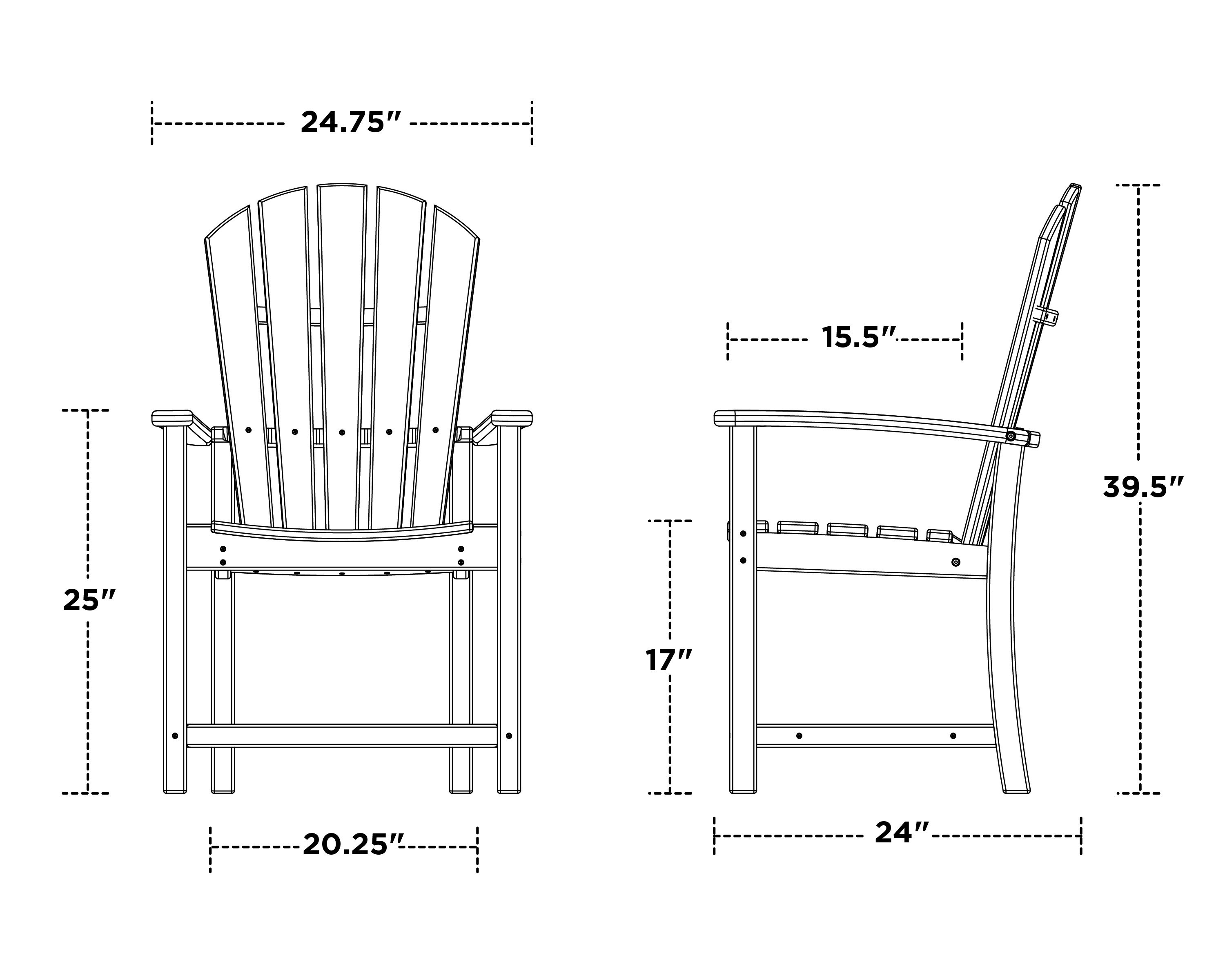 Polywood Palm Coast Dining Chair - Dimensions