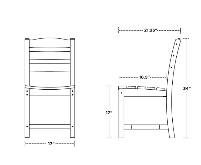 Side Armless Dining Chair Dimensions