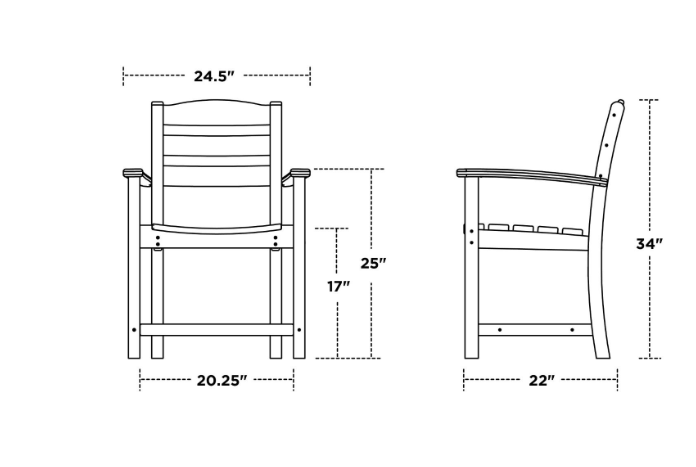 Dining Chair with Arms Dimensions