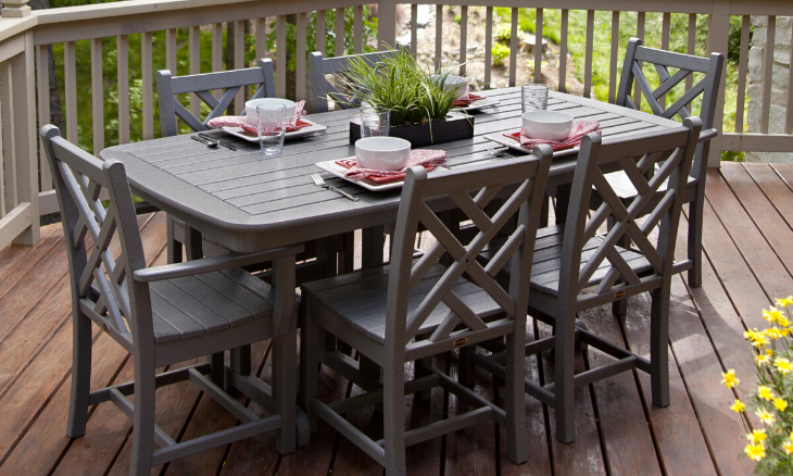 POLYWOOD® Chippendale 7-Piece Dining Set - Slate Grey