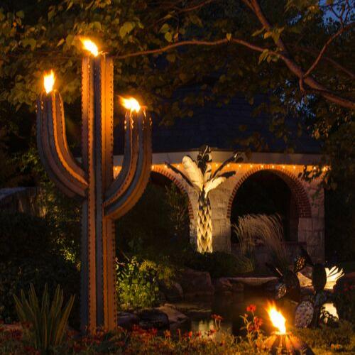 Outdoor Metal Saguaro Cactus Torch