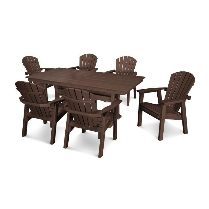 Polywood Seashell Recycled Plastic 7 Piece Dining Set