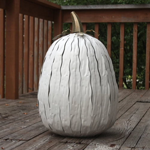 Indoor/Outdoor Steel White Pumpkin Luminary | XL