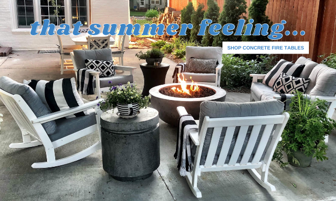 Concrete fire tables, polywood vineyard rocking chairs, outdoor patio furniture, outdoor gas fire tables