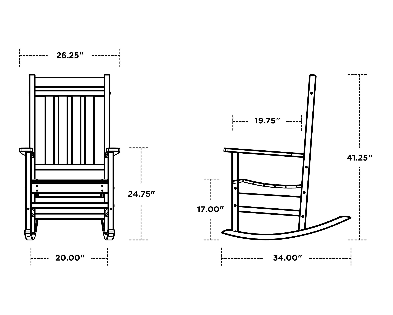Polywood Plantation Rocing Chair Dimensions